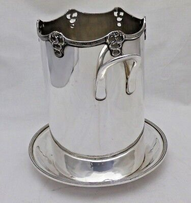 Antique Art Nouveau Silver Plate Champagne Wine Bottle Coaster Ice Bucket