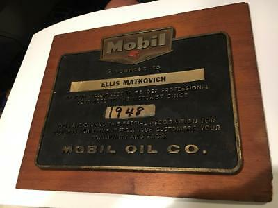 Mobil Oil Gas Service Station Award Plaque 1948 Nice