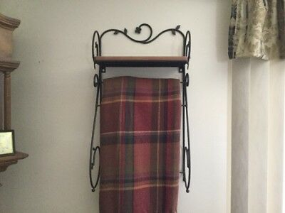 Longaberger Retired Wrought Iron Dogwood Stand With Shelf And Tobasco Throw