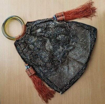 Antique Chinese Qing Dynasty Silk Embroidered Purse Peking Glass Handles Tassels