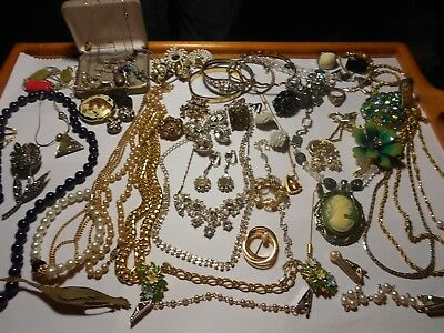 MIXED LOT OF ANTIQUE  VINTAGE COSTUME +STERLING+ GOLD?JEWELRY, emmons, coro +