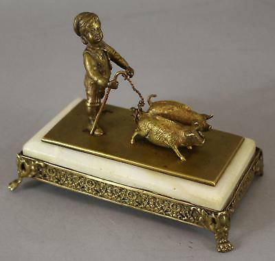 Antique 19thC Miniature Bronze Boy & 2 Pigs, Sculpture, NO RESERVE!
