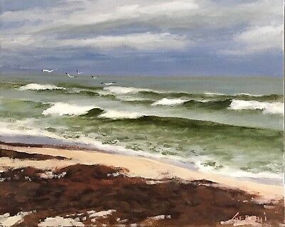 Florida Beach Seascape Painting - Original By  Karim Gebahi