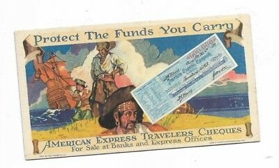 Vintage American Express Travelers Cheques blotter card - Pirates
