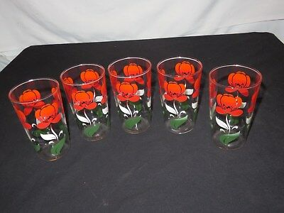 5 Vintage 1950s SMALL SWANKY SWIGS JUICE GLASSES RED WHITE GREEN FLOWERS (m206
