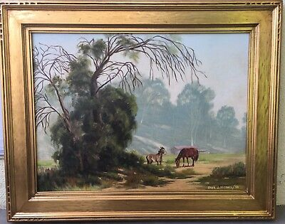 Listed California Artist Lloyd Mitchell Horses Grazing The Arroyo In So.Pasadena