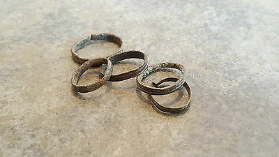 Lot of 5 Ancient Roman Bronze Hair Rings,    (#2)