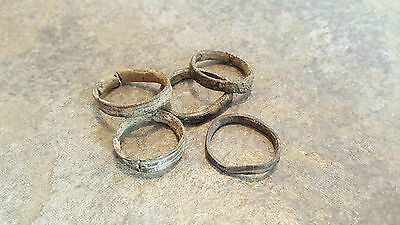 Lot of 5 Ancient Roman Bronze Hair Rings,    (#1)