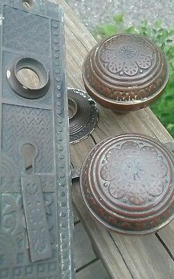 Vintage Eastlake Brass Door Hardware Backplate Knobs old patina double Keyhole