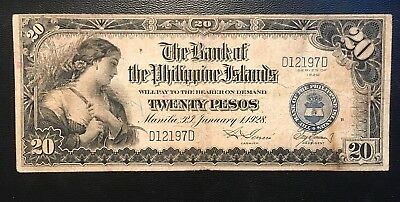 1928 Philippines 20 Pesos D12197D 1 of 40k ever Zero rips or Pinholes In USA