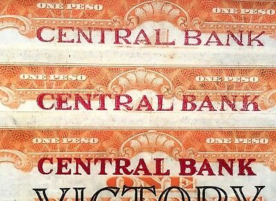 3 1949 Philppines 1 Pesos All 3 117 ABC Thin Med Bold Central Bank OVPT