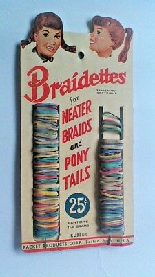 Vintage 1950's, 1960's Braidettes Pony Tail, Hair Braid, Store Display Card