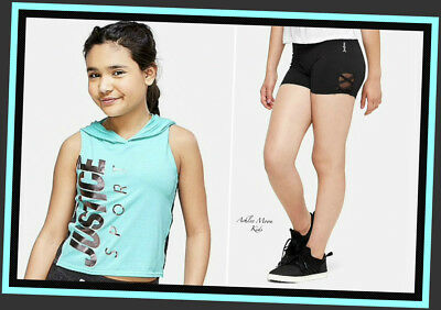 NWT JUSTICE Girls 8 10 12 14/16 Crop Hoodie & Lattice Compression Shorts Outfit