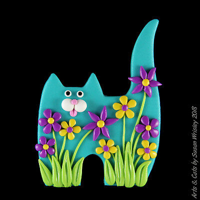 Standing Turquoise Kitty Cat with Yellow and Violet Purple Flowers Pin - SWris