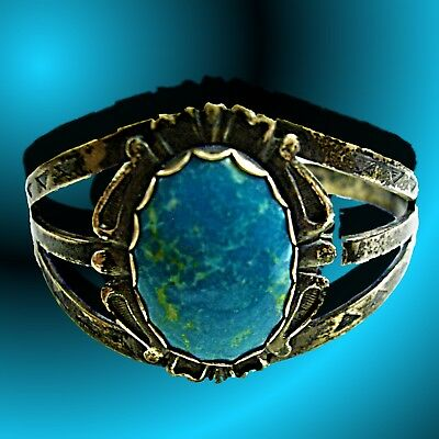 Vintage Navajo Royston Turquoise Cuff Bracelet~Sterling Silver~Very Very Old~