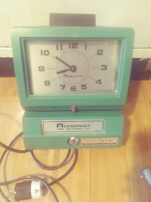 Vintage Acroprint 125AR3 Time Clock -  Working Punch Clock