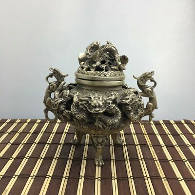 China old copper plating silver 9 Dragon Beast Lion Head censer Statue e02