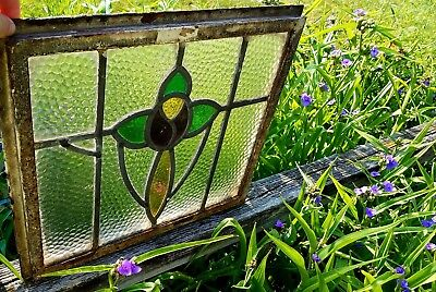 """Antique Leaded Stained Glass Metal Framed Window 19"""" x 17"""" x 1"""""""
