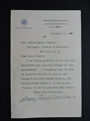 1913 Dudley Field Malone Signed Treasury Letter ! Attorney Politician Actor ++!!