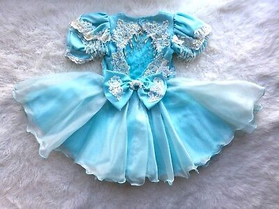 Vintage Toddler Girl's Glitz Style Frilly Ruffle & Lace Pageant Party Dress 4T