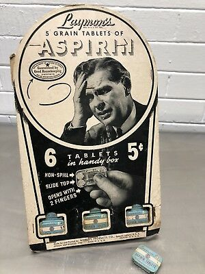 VINTAGE 1940 Laymons ASPIRIN DRUG STORE  TIN DISPLAY BOX. Completely full