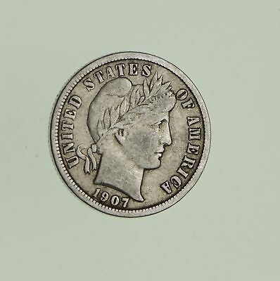 10c - Choice - 1907 - Barber Dime - Look at the Detail! *715