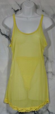 VICTORIA'S SECRET Sheer Yellow Camisole and Thong Panty Set Small Lace Trim