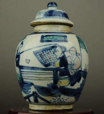 China old hand-made Blue and White porcelain Hand painted figure Cover pot c01