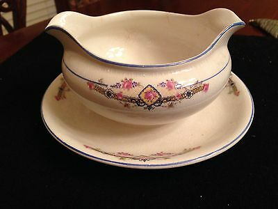 Antique Gravy Boat With Attached plate Porcelain D.E. McNicol - Liverpool, O.