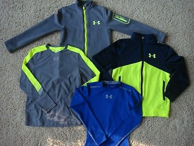 UNDER ARMOUR BOYS Athletic Long Sleeve Shirt and Sweatshirt LOT Sz. Youth Small