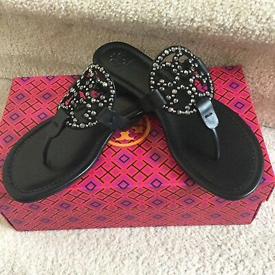 52209d841e8f Nib Auth Tory Burch Womens Miller Embellished Sandals Shoes Black Us 8.5   40861