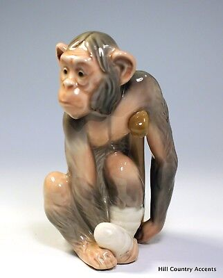 "Lladro ""painful Monkey"" #5018 - Monkey On Crutches W/ Bandaged Foot -$625 V Mint"