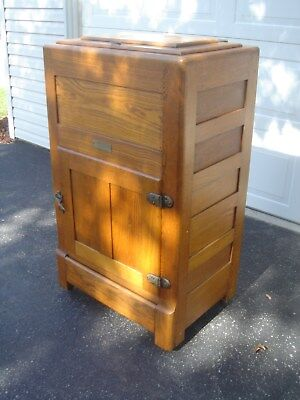 """Antique Oak Ice Box """"SANITARY"""" """"FREE"""" Drop Off or Delivery up to 250 miles"""