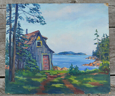 Vintage Oil on Board Painting New England Landscape Painting MAINE ESTATE 16x14