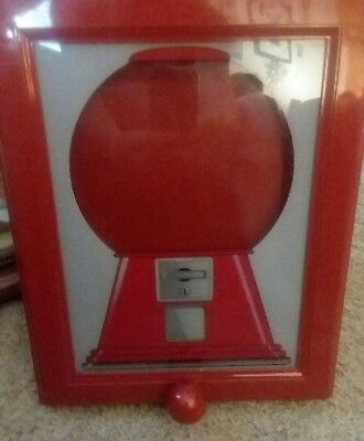 VINTAGE RED HANDY Candy Frame Gumball Machine Dispenser Wall Mount ...