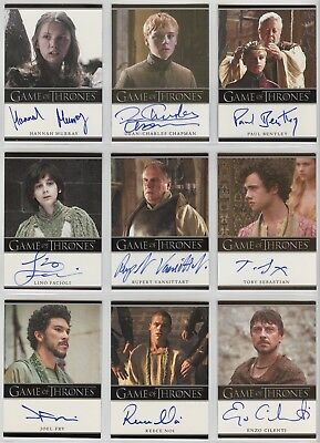 2016 Game Of Thrones Season 5 Autograph lot 20 cards Murray, Chapman, Portman...