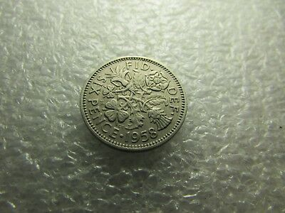 Great Britain 1958 Coin, 6 Pence - Wedding Coin - Nice Heritage Item