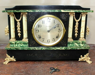 Ingram Mantle Clock Antique Ornate with Key L12/AC295