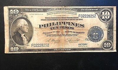 1944 US Philippines 10 Pesos USA Blue Seal Victory Series 66 In USA combo s/h