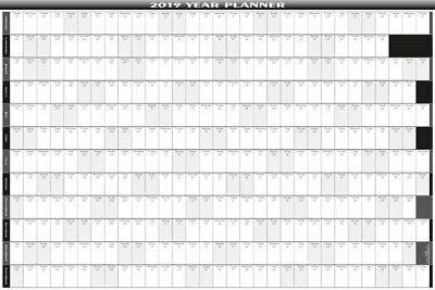 2019 - 12 Month Yearly  Wall Planner/Calendar  5 Sizes / 9 Col/Bus/Pers-Square