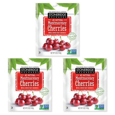 3X Stoneridge Orchards Montmorency Cherries Whole Dried Fruit Tart Gluten Free