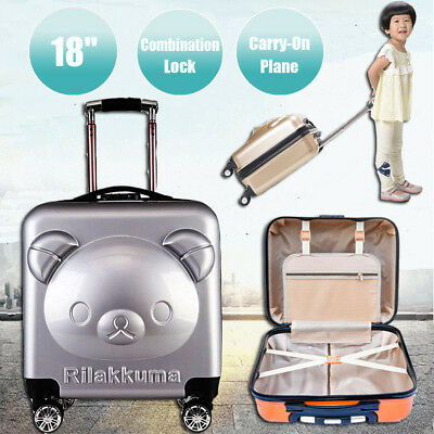 Children Carry On Suitcase 4 Wheels Luggage For Kids Travel Trolley Cabin Hard
