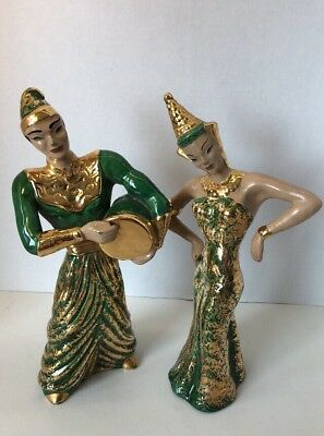 Lot Of 2 Vintage Asian figurines Signed YONA Antique Collectible Drummer