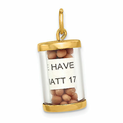 14k Yellow Gold Matthew 17:20 Have Faith Mustard Seed Capsule Charm 20x11mm