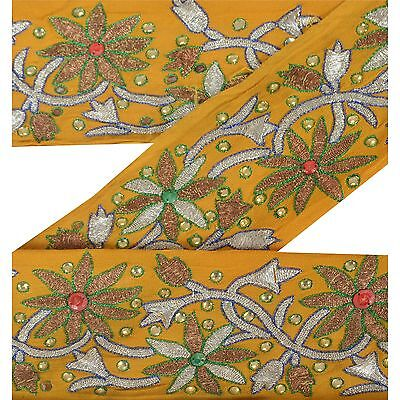 Sanskri Indian Sari Border Antique Hand Beaded 1 YD Trim Sewing Yellow Deco Lace