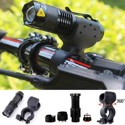 Hot 8000lm Q5 LED Cycling Bike Bicycle Head Light Flashlight 360° Mount Clip TH
