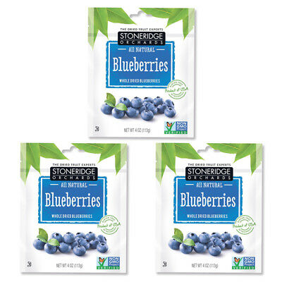 3X Stoneridge Orchards Blueberries Whole Dried Fruit Gluten Free Daily Natural