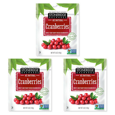 3X Stoneridge Orchards Cranberries Sweet & Tangy Dried Fruit Gluten Free Daily
