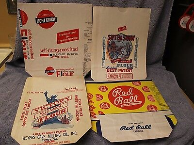 (4) Vintage paper flour bags~ Sifted Snow~Burrus~Victory~Red Ball Brand Flour