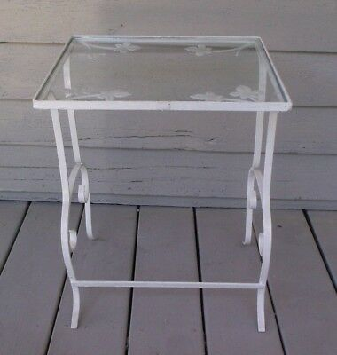 Vintage Wrought Iron Leaf Motif Side Table With Glass Top